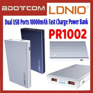 LDNIO PR1002 Dual USB Ports 10000mAh Fast Charge Power Bank for Samsung / Apple / Xiaomi / Huawei / Oppo / Vivo / Realme / OnePlus