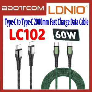 LDNIO LC102 60W Type-C to Type-C 2000mm Fast Charge Data Cable for Samsung / Apple / Xiaomi / Huawei / Oppo / Vivo / Realme / OnePlus / Apple Macbook Pro / iMac / Huawei Matebook