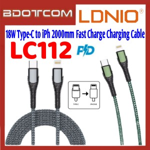 LDNIO LC112 PD 18W Type-C to Lightning 2000mm Fast Charge Charging Cable for iPhone 11 / iPhone 11 Pro / 11 iPhone Pro / iPhone 12 Mini / iPhone 12 / iPhone 12 Pro / iPhone 12 Pro Max