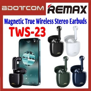 Remax TWS-23 Magnetic True Wireless Stereo Earbuds with Charging Case for Samsung / Apple / Xiaomi / Huawei / Oppo / Vivo / Realme / OnePlus