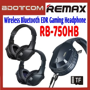 Remax RB-750HB Wireless Bluetooth EDR Gaming Headphone Support TF Card for Samsung / Apple / Xiaomi / Huawei / Oppo / Vivo / Realme / OnePlus