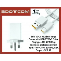 OPPO 65W VOOC Flash Charging Power Adapter Travel Charger with USB TYPE-C Cable for OPPO A73, A91, A92, A93, Find X2 5G, Reno 2, Reno 3, Reno 3 Pro, Reno 4, Reno 4 Pro, Reno 5, Reno 5 Pro