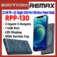 Remax RPP-130 Chiuen Series 22.5W PD + QC Single USB Port 10000mAh Wireless Fast Charge Power Bank with Suction Cup for Samsung / Apple / Xiaomi / Huawei / Oppo / Vivo / Realme / OnePlus