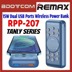 Remax RPP-207 Tanyl Series 15W Dual USB Port 20000mAh Wireless Fast Charge Power Bank with Suction Cup for Samsung / Apple / Xiaomi / Huawei / Oppo / Vivo / Realme / OnePlus