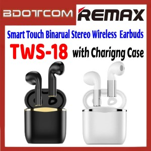 Remax TWS-18 Smart Touch Binarual Stereo Wireless Bluetooth Earbuds with Charging Case for Samsung / Apple / Xiaomi / Huawei / Oppo / Vivo / Realme / OnePlus