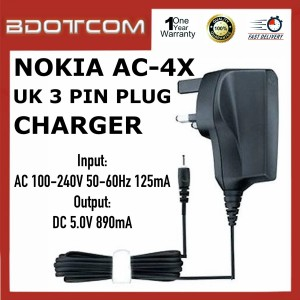 High Quality Nokia AC-4X Travel Adapter UK 3 Pin Plug Charger for Nokia 1200, 1208, 1280, 3100 Classic, 5300, 5320, 5610,5700, 5800 Xpress Music, N70, N73, N76, N82, N85, N86, N90, N93, N95, E63, E65, E90