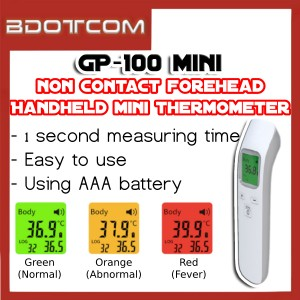 [ READY STOCK ] GP-100 Mini Handheld Thermometer Straight Forehead Non Contact Infrared Thermometer