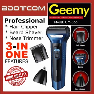 [READY STOCK] GEEMY GM-566 Professional Rechargeable Cordless Hair Clipper, Hair Cutter, Beard Shaver, Nose Trimmer for Men, Women, Boy, Lady, Kid, Child, Senior Citizen and anyone else