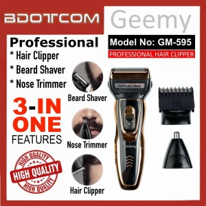 [READY STOCK] GEEMY GM-595 Professional Rechargeable Cordless 3in1 Hair Clipper, Hair Cutter, Beard Shaver, Nose Trimmer for Men, Women, Boy, Lady, Kid, Child, Senior Citizen and anyone else