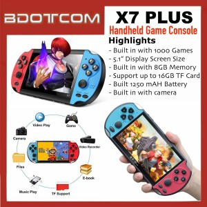 [READY STOCK] X7 PLUS Handheld Game Console 5.1-INCH FULL HD Display Pocket Size MP5 Video Player with Built in Camera, 1000 Games, 8GB Internal Memory, Micro SD Slot, Auxiliary Port
