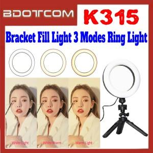 [ Ready Stock ] K315 Bracket Fill Light 3 Modes Ring Light Tripod for Live Streaming / Live Broadcast / Samsung / Apple / Xiaomi / Huawei / Oppo / Vivo / Realme / OnePlus