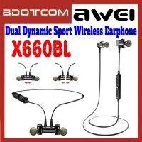 [ Ready Stock ] Awei X660BL Quad-Core Dual Dynamic Magnetic Waterproof Sport Wireless Bluetooth Earphone for Samsung / Apple / Xiaomi / Huawei / Oppo / Vivo / Realme / OnePlus