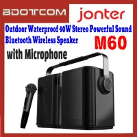 [ Ready Stock ] JONTER M60 Outdoor Waterproof 40W Stereo Powerful Rich Sound Bluetooth Wireless Speaker with Microphone for Samsung / Apple / Xiaomi / Huawei / Oppo / Vivo / Realme / OnePlus