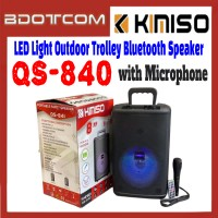[ Ready Stock ] Kimiso QS-840 LED Disco Light Outdoor Portable Trolley Bluetooth Speaker with Microphone for Samsung / Apple / Xiaomi / Huawei / Oppo / Vivo / Realme / OnePlus