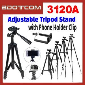 [ Ready Stock ] 3120A Adjustable Tripod Stand with Phone Holder Clip for Smartphone / Camera / Samsung / Apple / Xiaomi / Huawei / Oppo / Vivo / Realme / OnePlus