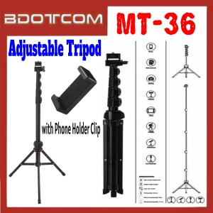 [ Ready Stock ] JMary MT-36 Adjustable Selfie Tripod Stand with Phone Holder Clip for Smartphone /  Camera / GoPro / Samsung / Apple / Xiaomi / Huawei / Oppo / Vivo / Realme / OnePlus