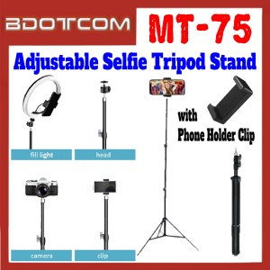 [ Ready Stock ] JMary MT-75 Adjustable Selfie Tripod Stand with Phone Holder Clip for Smartphone / Camera / GoPro / Samsung / Apple / Xiaomi / Huawei / Oppo / Vivo / Realme / OnePlus