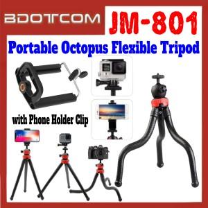 [ Ready Stock ] JM-801 Portable Octopus Flexible Monopod Tripod with Phone Holder Clip for Smartphone / Camera / GoPro / Samsung / Apple / Xiaomi / Huawei / Oppo / Vivo / Realme / OnePlus