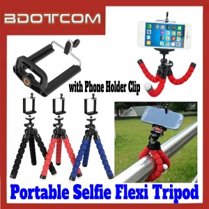 [ Ready Stock ] Portable Selfie Flexi Pod Monopod Tripod with Phone Holder Clip for Smartphone / Camera / GoPro / Samsung / Apple / Xiaomi / Huawei / Oppo / Vivo / Realme / OnePlus