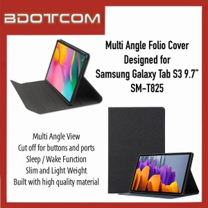 """High Quality Multi Angle Folio Cover with Sleep Wake Function compatible with Samsung Galaxy Tab S3 9.7"""" SM-T825"""