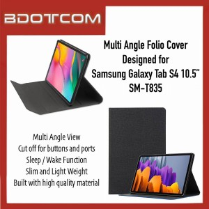 """High Quality Multi Angle Folio Cover with Sleep Wake Function compatible with Samsung Galaxy Tab S4 10.5"""" SM-T835"""