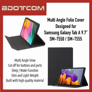 """High Quality Multi Angle Folio Cover with Sleep Wake Function compatible with Samsung Galaxy Tab A 9.7"""" SM-T550 / SM-T555"""
