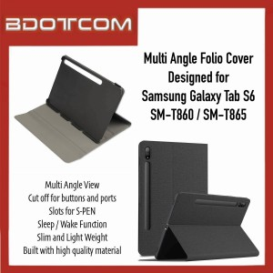 High Quality Multi Angle Folio Cover with Sleep Wake Function compatible with Samsung Galaxy Tab S6 SM-T860 / SM-T865