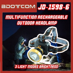 [Ready Stock] JD-1598-6 Multifunctional Headlight Rechargeable 3 Light Modes Brightness Outdoor Torch Light Head Lamp
