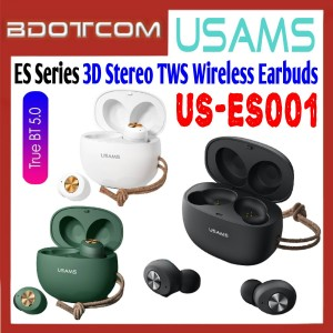 Usams US-ES001 ES Series 3D Stereo Sound TWS Bluetooth Wireless Earbuds with Charging Case for Samsung / Xiaomi / Huawei / Oppo / Vivo / Realme / OnePlus