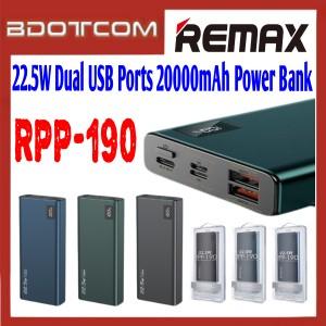 Remax RPP-190 Mini Pro 22.5W Dual USB Ports 20000mAh Fast Charge Power Bank for Samsung / Xiaomi / Huawei / Oppo / Vivo / Realme / OnePlus