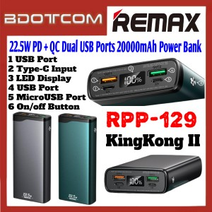 Remax RPP-129 KingKong II Series 22.5W PD + QC Dual USB Ports 20000mAh Fast Charge Power Bank for Samsung / Xiaomi / Huawei / Oppo / Vivo / Realme / OnePlus