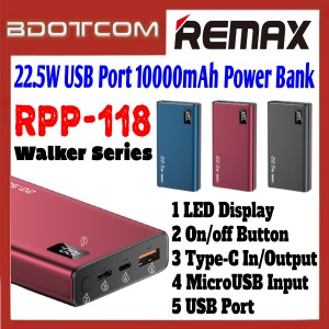 Remax RPP-118 Walker Series 22.5W Single USB Port 10000mAh Fast Charge Power Bank for Samsung / Xiaomi / Huawei / Oppo / Vivo / Realme / OnePlus