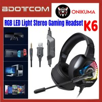 Onikuma K6 RGB LED Light Stereo Noise Reduction 3.5mm Audio Jack Gaming Headset with Microphone for PC / Laptop / Desktop PC / Samsung / Huawei / Oppo / Vivo / Realme / OnePlus