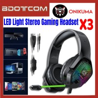 Onikuma X3 LED Light Stereo Noise Reduction 3.5mm Audio Jack Gaming Headset with Microphone for PC / Laptop / Desktop PC / Samsung / Huawei / Oppo / Vivo / Realme / OnePlus