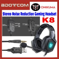 Onikuma K8 RGB LED Stereo Noise Reduction 3.5mm Audio Jack Gaming Headset with Microphone for PC / Laptop / Desktop PC / Samsung / Huawei / Oppo / Vivo / Realme / OnePlus