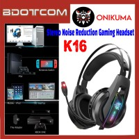 Onikuma K16 RGB LED Light Stereo Noise Reduction 3.5mm Audio Jack Gaming Headset with Microphone for PC / Laptop / Desktop PC / Samsung / Huawei / Oppo / Vivo / Realme / OnePlus
