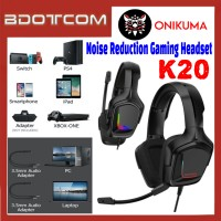 Onikuma K20 RGB LED Light Stereo Noise Reduction 3.5mm Audio Jack Gaming Headset with Microphone for PC / Laptop / Desktop PC / Samsung / Huawei / Oppo / Vivo / Realme / OnePlus