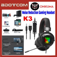 Onikuma K3 RGB LED Light Stereo Noise Reduction 3.5mm Audio Jack Gaming Headset with Microphone for PC / Laptop / Desktop PC / Samsung / Huawei / Oppo / Vivo / Realme / OnePlus