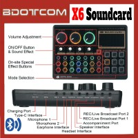 [Ready Stock] X6 Mini Audio Mixer Bluetooth USB Headset Microphone Webcast Live Sound Card for Live Streaming / Sing Studio Recording / Smartphone / Mobile Phone / PC / Laptop / Desktop Computer