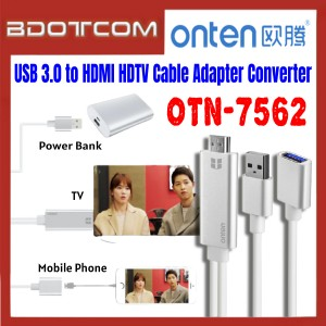 [ Ready Stock ] Onten OTN-7562 USB 3.0 to HDMI HDTV Cable Adapter Converter for for Screen Sharing / TV / Monitor / Projector / Mobile Phone / Samsung / Xiaomi / Huawei / Oppo / Vivo / Realme / OnePlus