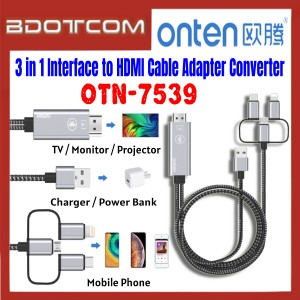 [ Ready Stock ] Onten OTN-7539 3 in 1 Interface to HDMI Cable Adapter Converter for for Screen Sharing / TV / Monitor / Projector / Mobile Phone / Samsung / Xiaomi / Huawei / Oppo / Vivo / Realme / OnePlus