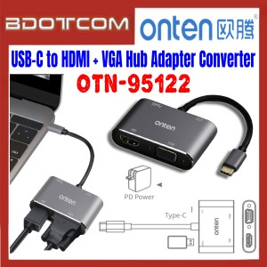 [ Ready Stock ] Onten OTN-95122 USB-C to HDMI + VGA + USB 3.0 Hub Adapter Converter with PD Charger for Screen Sharing / TV / Monitor / Projector / Mobile Phone / Samsung / Xiaomi / Huawei / Oppo / Vivo / Realme / OnePlus