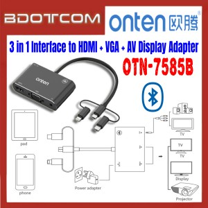 [ Ready Stock ] Onten OTN-7585B 3 in 1 Interface to HDMI + VGA + AV Display Adapter Convertor for Screen Sharing / TV / Monitor / Projector / Mobile Phone / Samsung / Xiaomi / Huawei / Oppo / Vivo / Realme / OnePlus