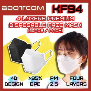 [Ready Stock] Korean Premium KF94 4 Layers Disposable Surgical 4PLY Protective Face Mask (10psc / Pack)