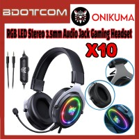 [Ready Stock] Onikuma X10 RGB LED Light Stereo Noise Reduction 3.5mm Audio Jack Gaming Headset with Microphone for PC / Laptop / Desktop PC / Samsung / Huawei / Oppo / Vivo / Realme / OnePlus