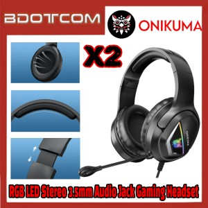 [Ready Stock] Onikuma X2 RGB LED Light Stereo Noise Reduction 3.5mm Audio Jack Gaming Headset with Microphone for PC / Laptop / Desktop PC / Samsung / Huawei / Oppo / Vivo / Realme / OnePlus