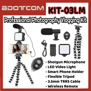[Ready Stock] KIT-03LM Professional Photography Vlogging Kit with Bluetooth Remote for Youtuber, TikTok, Smule, Influencer, Online Study, Home Schooling, Video Streaming, ZOOM Meeting, Google Meet and etc