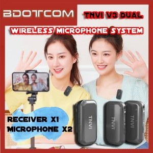 [READY STOCK] TNVI V3 DUAL 2.4G Bluetooth Wireless Microphone System with (2 Mic + 1 Transmitter) Lapel Lavalier Microphone