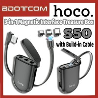[Ready Stock] Hoco S50 3-in-1 Magnetic Interface Treasure Box Charging Cable for Samsung / Huawei / Xiaomi / Oppo / Vivo / Realme / OnePlus