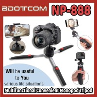 [Ready Stock] Neepho NP-888 Multifunctional Convenient Monopod Tripod with Phone Holder Clip for Smartphone / Camera / Samsung / Xiaomi / Huawei / Oppo / Vivo / Realme / OnePlus